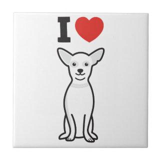 チワワ犬の漫画 正方形タイル小