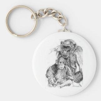 チンパンジーおよびお母さん キーホルダー