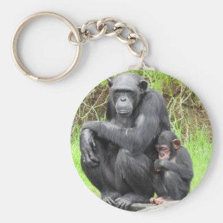 チンパンジーのキーホルダー ベーシック丸型缶キーホルダー
