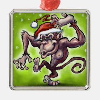 チンパンジーのクリスマス メタルオーナメント