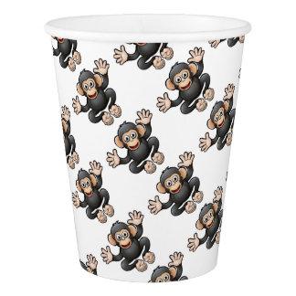 チンパンジーのサファリ動物のマンガのキャラクタ 紙コップ