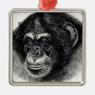 チンパンジーのヘッド芸術 メタルオーナメント