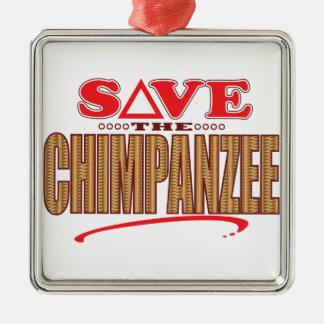 チンパンジーの保存 メタルオーナメント