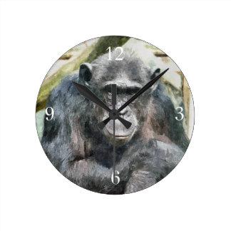 チンパンジー ラウンド壁時計