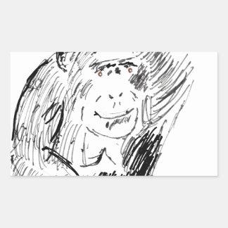 チンパンジー 長方形シール