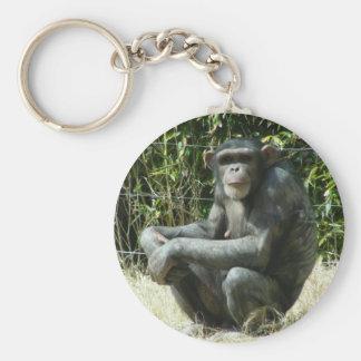 チンパンジーKeychain ベーシック丸型缶キーホルダー