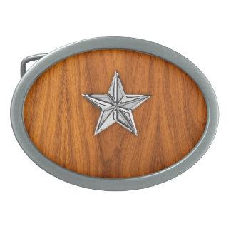 チークのベニヤのクロムスタイルの航海のな星 卵形バックル