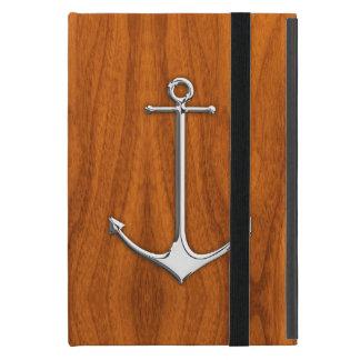 チークのベニヤの航海のなライフスタイルのクロムいかり iPad MINI ケース