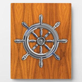 チークのベニヤの航海のな車輪 フォトプラーク