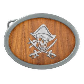 チークのベニヤの装飾のクロム銀製の海賊 卵形バックル