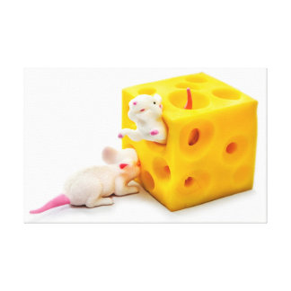 チーズおもしろいなおもちゃのキャンバスのネズミ キャンバスプリント