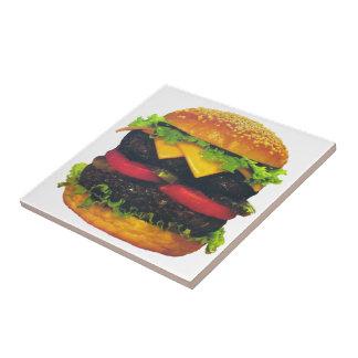 チーズが付いている二重デラックスなハンバーガー タイル