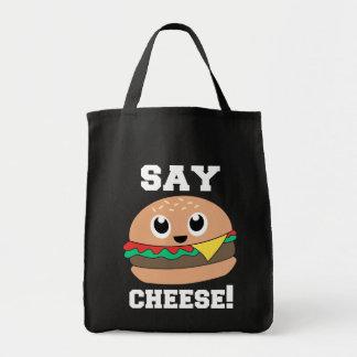 チーズを言って下さい! かわいいスローガンのハンバーガーのトートバック トートバッグ