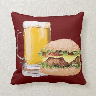 チーズハンバーガービール装飾用クッションのメルローの赤 クッション