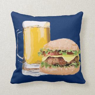 チーズハンバーガービール青の装飾用クッション クッション