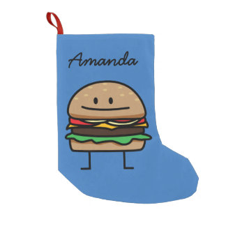 チーズバーガーのハンバーガーの挽き肉のビーフのチーズパン スモールクリスマスストッキング