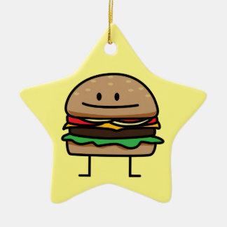 チーズバーガーのハンバーガーの挽き肉のビーフのチーズパン セラミックオーナメント