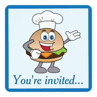 チーズバーガーの誕生日の招待状 カード