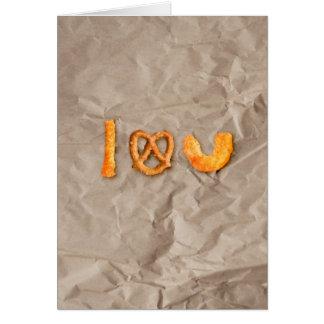 チーズ棒およびプレッツェルのハートI愛おもしろいな カード