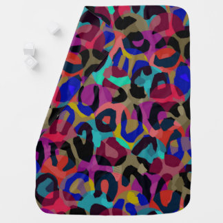 チータのターコイズの紫色の抽象芸術 ベビー ブランケット