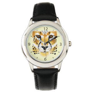 チータのヘッドクローズアップのイラストレーション 腕時計
