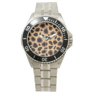 チータの皮の顔の腕時計 腕時計