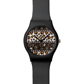 チータの皮パターンが付いているアフリカのプリント 腕時計