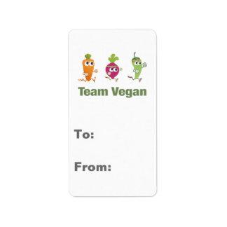 チームビーガン! 連続した野菜 ラベル