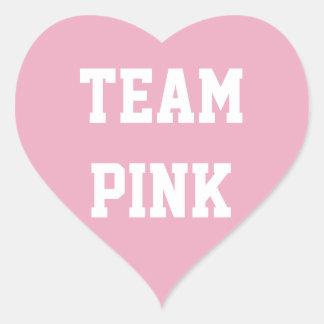 チームピンクの女の子のベビーはステッカー、ベビーシャワーを明らかにします ハートシール