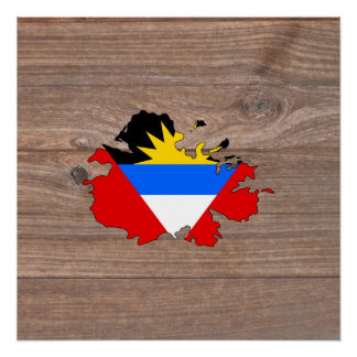チーム木のアンチグアバーブーダの旗の地図 ポスター