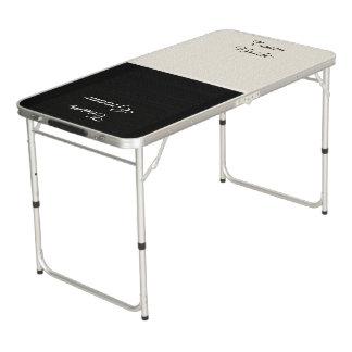 チーム花嫁/チーム新郎の白黒Pongのテーブル ビアポンテーブル