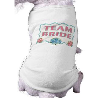 チーム花嫁(青い花柄) 犬用袖なしタンクトップ