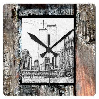 ツインタワー スクエア壁時計
