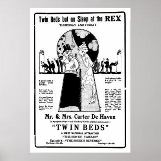 ツイン・ベッドの1921年のヴィンテージの無声映画ポスター ポスター