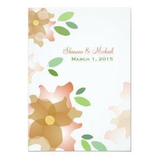 ツツジのブラウンの様式化された結婚式招待状 カード
