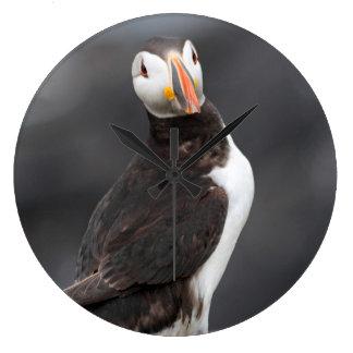 ツノメドリの写真の時計 ラージ壁時計