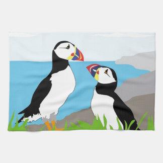 ツノメドリの海鳥 キッチンタオル