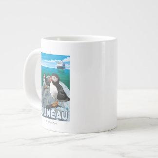 ツノメドリ及び遊航船-ジュノー、アラスカ ジャンボコーヒーマグカップ