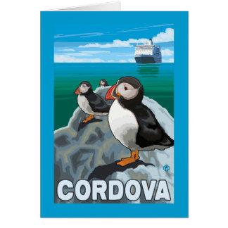 ツノメドリ及び遊航船- Cordova、アラスカ カード