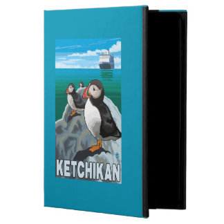 ツノメドリ及び遊航船- Ketchikan、アラスカ iPad Airケース