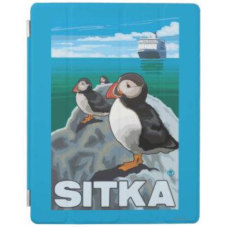 ツノメドリ及び遊航船- Sitka、アラスカ iPadスマートカバー