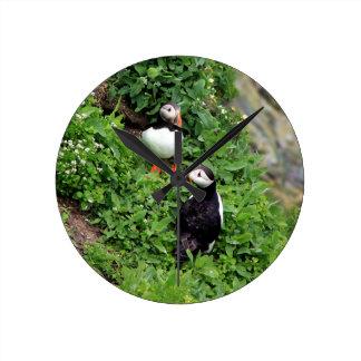 ツノメドリ ラウンド壁時計