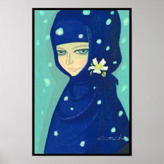 ツバキのIkeda Shuzoの東洋の女性女の子の絵画 ポスター