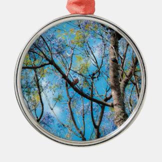 ツリーブランチの自然の写真撮影の青空の鳥 メタルオーナメント