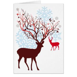 ツリーブランチの(雄ジカの)枝角を搭載するクリスマスのシカ グリーティングカード