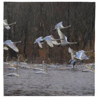 ツンドラ白鳥の鳥の野性生物動物の布のナプキン ナプキンクロス