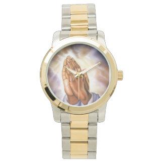 ツートーン祈る手の腕時計 腕時計