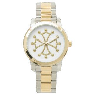 ツールーズの十字のツートーン金ゴールド及び銀製リンク腕時計 腕時計