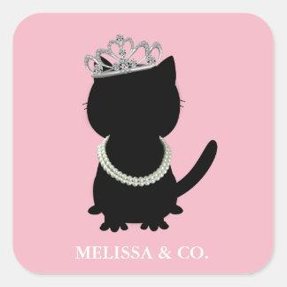ティアラのパーティーのTiffany猫のシャワーのピンクのパーティーのステッカー スクエアシール