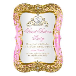 ティアラのプリンセスの菓子16のピンクの金ゴールドの白い招待 カード